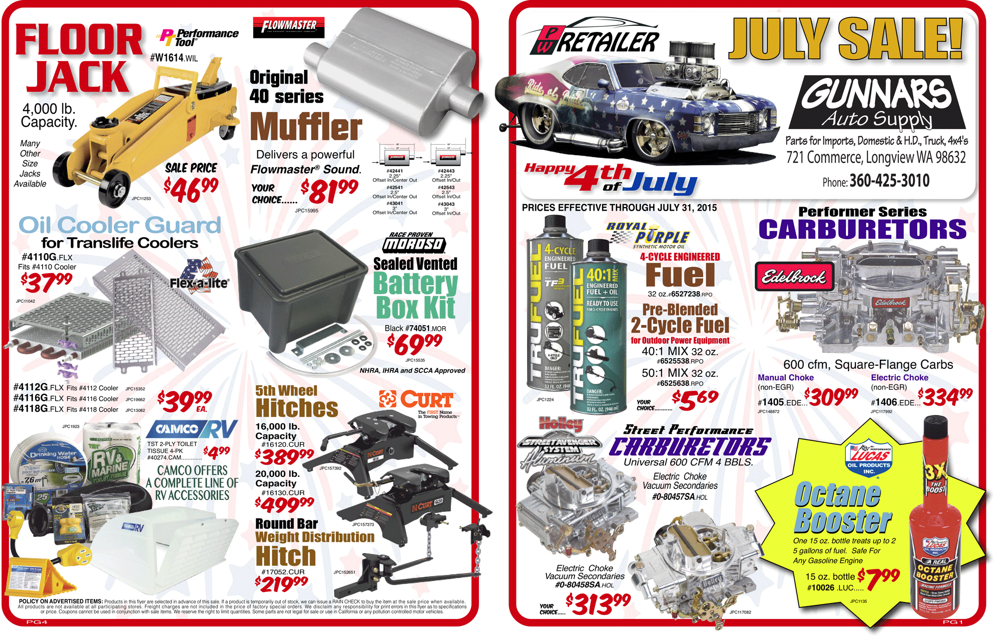 Gunnar's Auto Supply July 2015 Sales