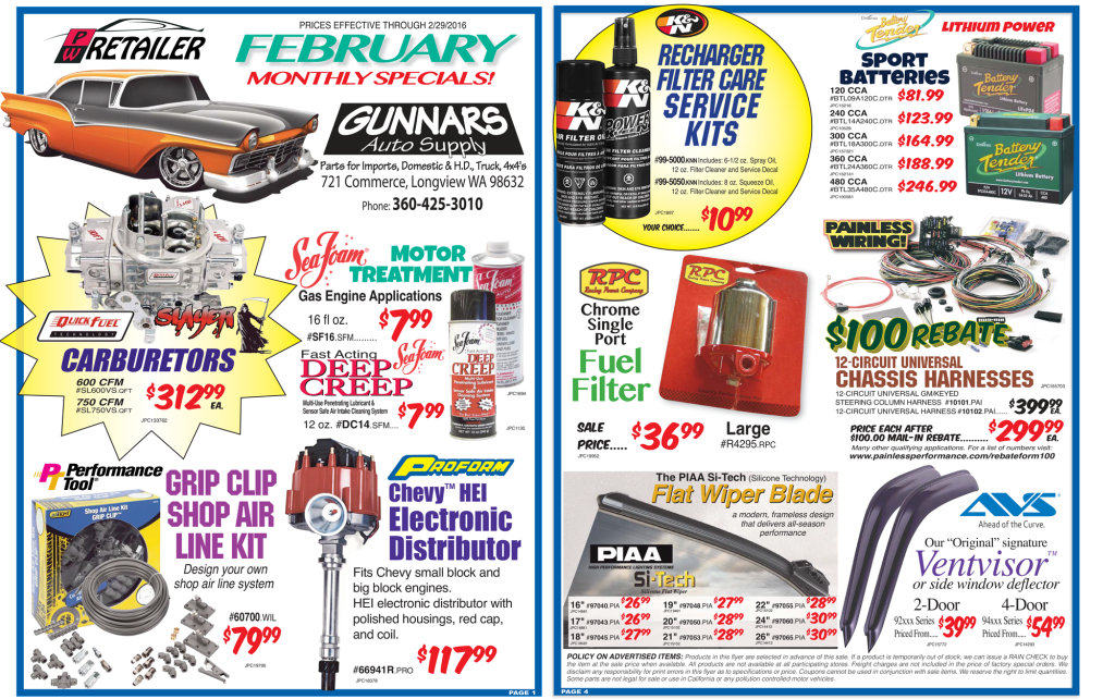 Come into Gunnars for your February auto sales