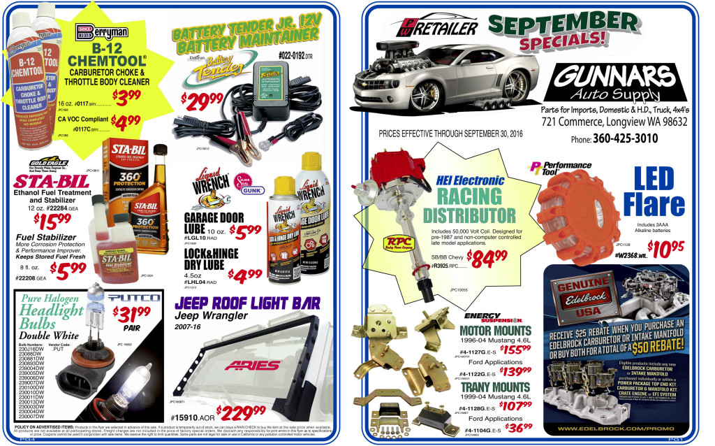 Gunnars Auto Supply September Sales